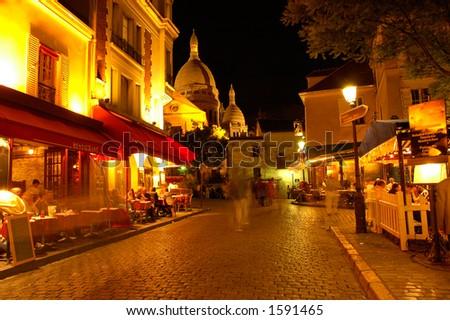 Montmartre by night, Paris - stock photo