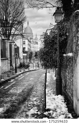 Montmartre Hill in Paris, France - stock photo