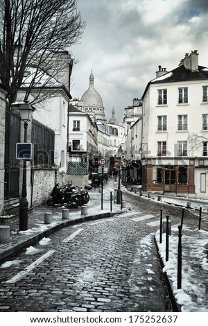 Montmartre Hill with Sacre Coeur basilica in Paris, France - stock photo