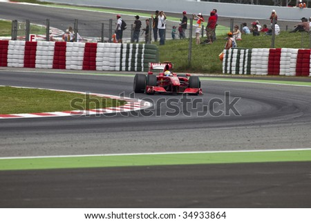 MONTMELO, SPAIN - MAY 10: Ferrari participates in the Spanish Grand Prix on May 10, 2009 in Montmelo, Spain.  Felipe Massa finished in 6th place and Kimi R?ikk?nen did not finish. - stock photo