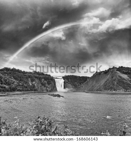 Montmorency Falls in Quebec, Canada. - stock photo