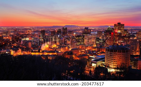 Montreal at Sunset - stock photo