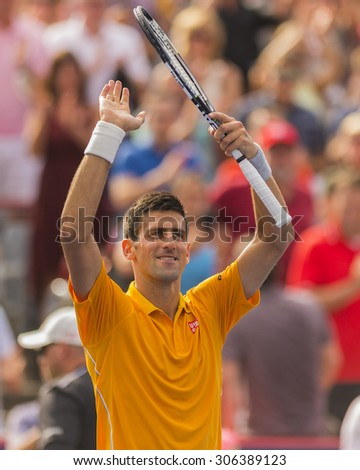 MONTREAL - AUGUST 15:   Novak Djokovic of Serbia during his semi final match win over Jeremy Chardy of France at the 2015 Rogers Cup on August 15, 2015 in Montreal, Canada