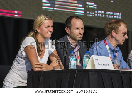 MONTREAL - AUGUST 1: Petra Kvitova of Czech Republic during press conference at the 2014 Rogers Cup on August 1, 2014 in Montreal, Canada - stock photo