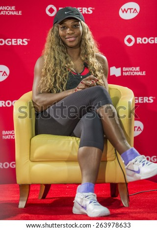 MONTREAL - AUGUST 4: Serena Williams of USA during press conference at the 2014 Rogers Cup on August 4, 2014 in Montreal, Canada - stock photo