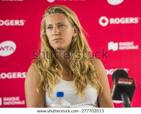 MONTREAL - AUGUST 3: Victoria Azarenka of Belarus during press conference at the 2014 Rogers Cup on August 3, 2014 in Montreal, Canada - stock photo