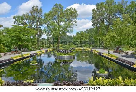 Montreal botanical garden reflecting pond - stock photo