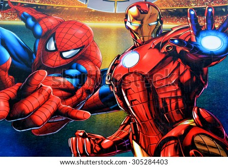 MONTREAL,CANADA AUGUST 08 2015: Sign of Marvel Universe LIVE! on Bell center will captivate audiences with an authentic and original story that brings more than 25 Marvel characters. - stock photo