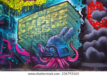 MONTREAL CANADA DEC 02: Street art Montreal Star wars on dec 02 2014 in Montreal Canada. Montreal. is the perfect place to walk in the back alleys and abandoned areas, looking street art. - stock photo