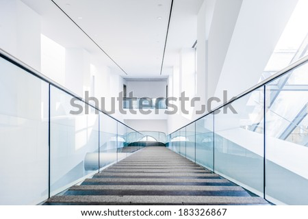 Montreal, Canada, Feb 22 2014: Fine Arts Museum Modern Staircase Set with Natural sun light. - stock photo