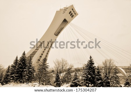 MONTREAL,CANADA - FEBRUARY 3.The Montreal Olympic Stadium and tower on February 3 , 2013. It's the tallest inclined tower in the world.Tour Olympique stands 175 meters tall and at a 45-degree angle - stock photo