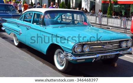 MONTREAL CANADA 08 08 2015: In street of Montreal a Chevrolet Bel Air was a full-size automobile that was produced by Chevrolet for the 1950â??1981 model years. Initially only the two door Hardtops. - stock photo