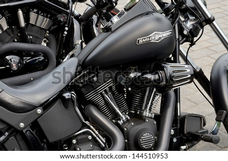 MONTREAL CANADA JULY 1:  Harley Davidson close up, during Canada celebration on july 01 2013 in Montreal Canada. - stock photo