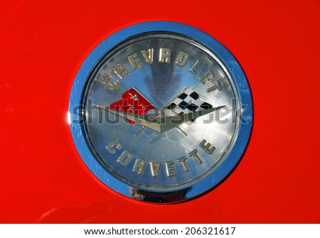 MONTREAL CANADA JULY 20 2014: Photo of classic Chevrolet Corvette Emblem. The first generation Corvette was  designed by Harley Earl and introduced at the GM Motorama in 1953 as a concept show car. - stock photo
