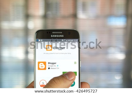 MONTREAL, CANADA - MAY 23, 2016 : Blogger application on Samsung S7 screen. Blogger is Google's free tool for creating blogs - stock photo