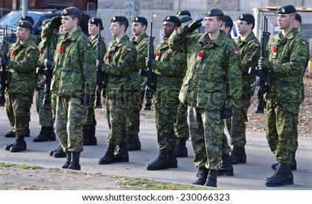 MONTREAL CANADA NOVEMBER 6 :Canadians soldiers in uniform for the remembrance Day on November 6, 2011, Montreal, Canada.The day was dedicated by King George V on 7-11-19 as a day of remembrance.  - stock photo