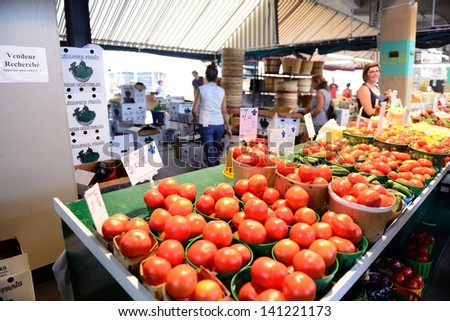 MONTREAL, CANADA - SEP 8: Jean-Talon Market interior on September 8, 2012 in Montreal, Canada. Montreal is the largest in Quebec, the second-largest in Canada and the 15th-largest in North America. - stock photo