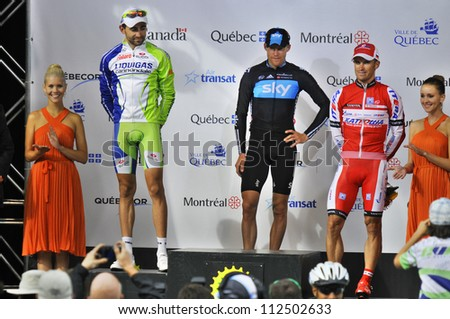 MONTREAL, CANADA-SEPTEMBER 9:Podium 1 Lars Petter Nordhaug,  2  Moreno Moser and 3 Alexandr Kolobnevat the 2012 Grand Prix Cycliste de Montreal on September 9, 2012 in Montreal, Canada - stock photo