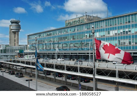 MONTREAL CITY - APRIL 16: Montreal International Airport building.  Airport is named in honor of Pierre Elliott Trudeau, the 15th Prime Minister of Canada. April 16, 2014 in Montreal, Quebec, Canada.  - stock photo