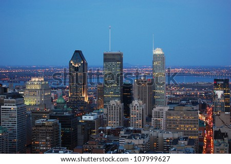 Montreal city skyline at sunset from Parc Mont-Royal,Montreal, Quebec, Canada - stock photo