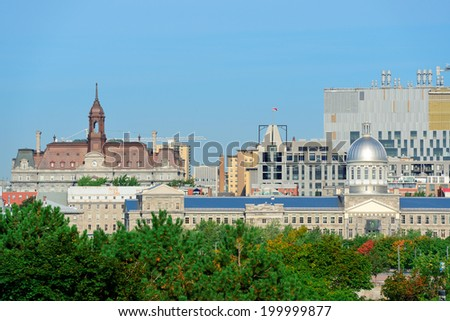 Montreal city skyline in the day with urban buildings - stock photo