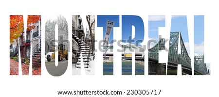 Montreal colorful landmarks letters - stock photo