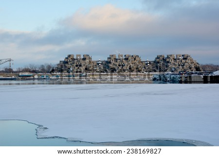 MONTREAL DEC. 08: A view of Habitat 67 on dec. 08, 2013 in Montreal, Quebec, CA. Habitat 67 is considered a landmark and one of the most recognizable and significant buildings in Montreal and Canada  - stock photo