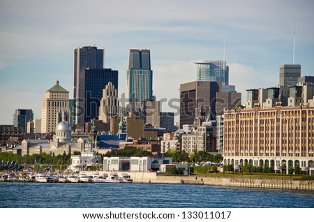 Montreal Downtown and Saint-Lawrence River - stock photo