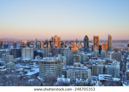 Montreal Downtown at sunset, in Winter - stock photo