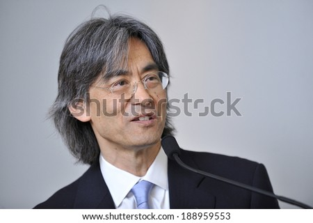 MONTREAL - MAY 4: The American conductor and opera administrator Kent Nagano makes a speech during a press conference, on May 4, 2011 in Montreal, Quebec, Canada. - stock photo