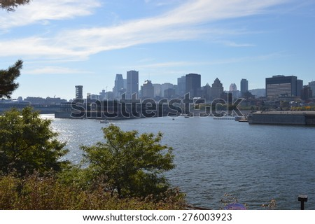 Montreal over river  in sunshine Canada - stock photo