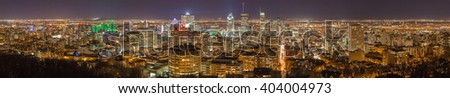 Montreal panorama skyline at night. View from Mount-Royal. Canada. - stock photo
