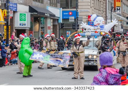 MONTREAL, QUEBEC, CANADA - NOVEMBER 21, 2015 : Ghost busters in the 65th edition of the Santa Claus Parade Destination Centre-ville (Defile du Pere Noel) along Saint Catherine Street. - stock photo
