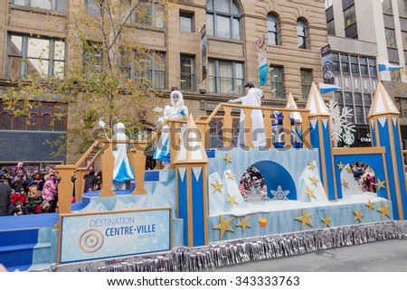 MONTREAL, QUEBEC, CANADA - NOVEMBER 21, 2015 : Snow Queen Platform on  65th edition of the Santa Claus Parade Destination Centre-ville (Defile du Pere Noel) along Saint Catherine Street. - stock photo