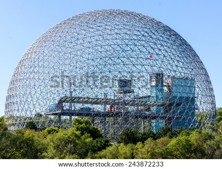 Montreal,Quebec,Canada-September 01-2012 Biosphere of Montreal at Day Light This structure was in 1967 the Pavilion from the United States has the Montreal International Exhibition.  - stock photo