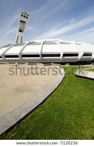 Montreal's Olympic Stadium - stock photo