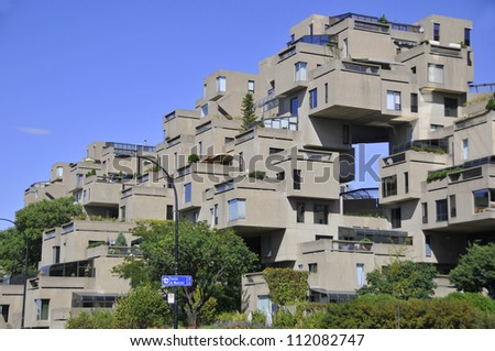 MONTREAL-SEPT. 03: A view of Habitat 67 on Sept 03, 2012 in Montreal, Quebec, CA. Habitat 67 is considered a landmark and one of the most recognizable and significant buildings in  Montreal and Canada - stock photo