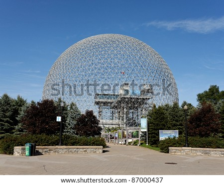 MONTREAL - SEPTEMBER 27: The Montreal Biosphere in Montreal, Quebec on September 27, 2011. The dome, originally used as a pavilion during the 1967 World's Fair, now houses an environmental museum. - stock photo