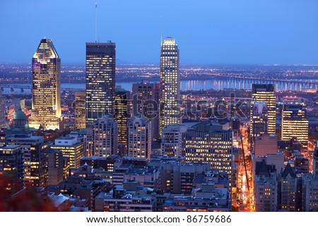 Montreal skyline by night. Dusk cityscape image of Montreal downtown, Quebec, Canada. - stock photo