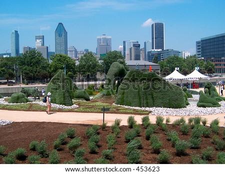 Montreal Skyline Flower Sculptures - stock photo