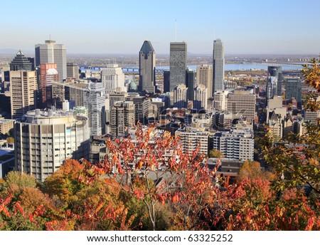 Montreal skyline in autumn - stock photo