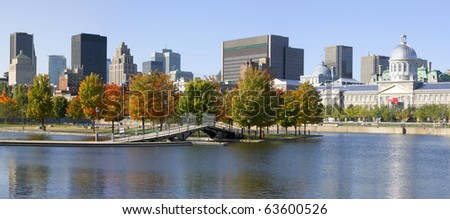 Montreal skyline in autumn - stock photo