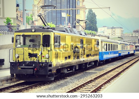 "Montreux, Switzerland - June 15, 2010: Train ""Chocolate express"" stands at Montreux station. - stock photo"