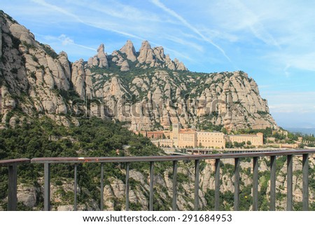 Montserrat - a great beauty mountain refuge Benedictine monahov.Eto place with amazing energy that fills the people and fulfill their desires. - stock photo