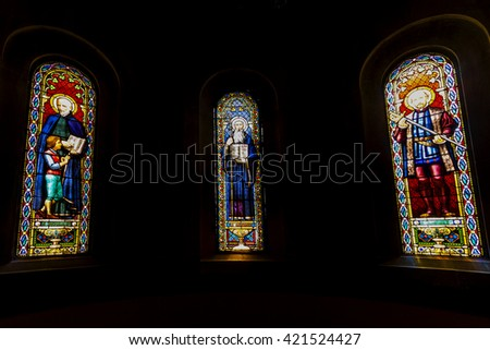MONTSERRAT, SPAIN-MAY 22, 2009: Nativity scene. Stained glass window in the Basilica of the Benedictine Monastery Montserrat, located in the mountains 56 km from Barcelona.  - stock photo