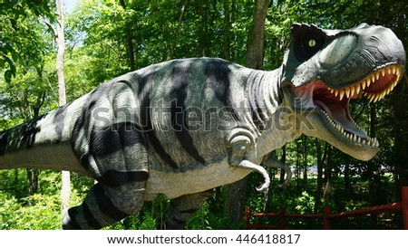 MONTVILLE, CT - JUN 18: The Dinosaur Place at Nature's Art Village in Montville, Connecticut, as seen on Jun 18, 2016. The park features over 40 life-sized dinosaurs on 1.5 miles of nature trails. - stock photo