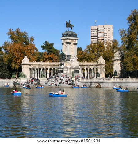 Monument Alfonso XII in Retiro park in Madrid - stock photo