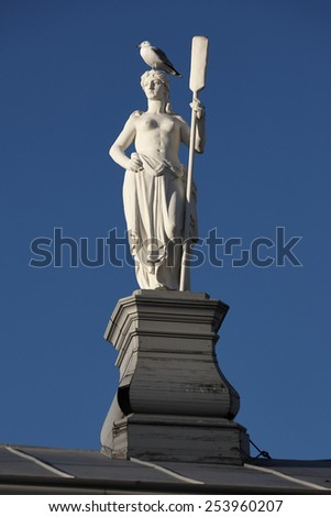 Monument and a gull in Petropavlovskaya fortress (Saint-Petersburg) - stock photo