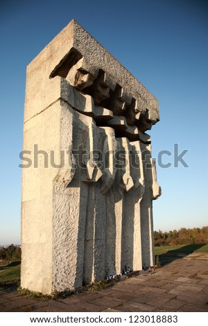 Monument at the former Plaszow concentration camp, Krakow, Poland - stock photo