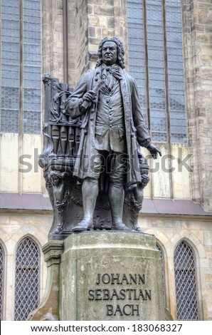 Monument for Johann Sebastian Bach in front of the Thomas Church (Thomaskirche). Leipzig, Germany - stock photo